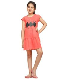 Nuteez Short Sleeves Dress Batman Icon Print - Peach