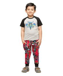 Nuteez Raglan Sleeves Night Suit Batman Print - Red Grey Black
