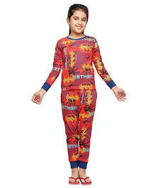 Nuteez Full Sleeves Nightsuit Batman Print - Red
