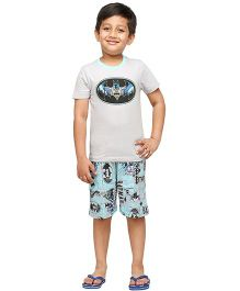 Nuteez Half Sleeves Night Suit Batman Print - Grey Blue