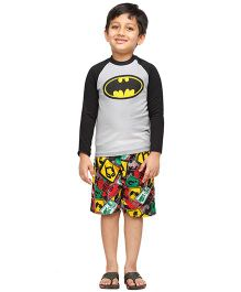Nuteez Full Sleeves Night Suit Batman Print - Grey Black Multicolor