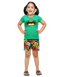 Nuteez Half Sleeves Night Suit Batman Print - Green Multicolor