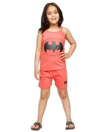 Nuteez Singlet Night Suit Batman Print - Peach