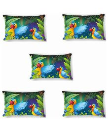 Ambbi Collections Cushion Cover Parrots Design Multicolor - 5 Pieces