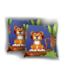 Ambbi Collections Cushion Cover Tiger Design Multicolor - 2 Pieces