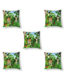 Ambbi Collections Cushion Cover Tiger Design Multicolor - 5 Pieces