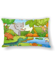 Ambbi Collections Cushion Cover Elephant Design - Multicolor