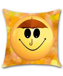 Ambbi Collections Cushion Cover Smiley Print - Yellow