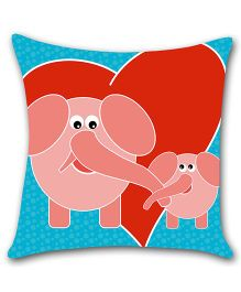 Ambbi Collections Cushion Cover Elephant Print - Blue