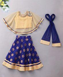 Violet Lehenga Choli With Cape - Blue Gold