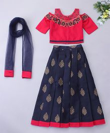 Violet Lehenga Choli With Dupatta Floral Embroidery - Red Navy