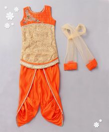 Violet Sleeveless Kurti Salwaar And Dupatta Set - Orange