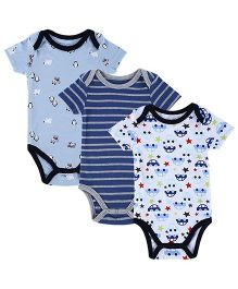 Lil Mantra Set Of 3 Penguin Car & Stripe Print Onesie - Blue
