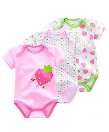 Pre Order - Lil Mantra Set Of 3 Strawberry & Heart Print Onesie - Pink