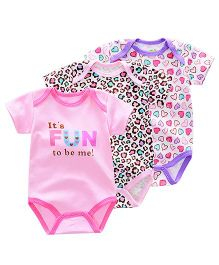 Lil Mantra Set Of 3 Heart & Cheetah Print Onesie - Pink