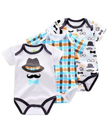 Lil Mantra Set Of 3 Moustache & Check Print Onesie - Black & Blue