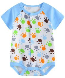 Lil Mantra Tiger Print Onesie - Blue & Orange