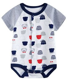 Lil Mantra Bear Print Onesie - Grey & Blue