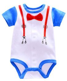 Lil Mantra Suspender Belts Design Onesie - White & Blue