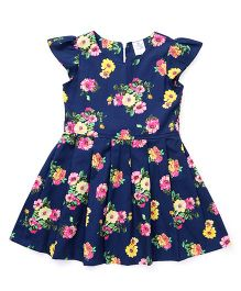 Smarty Cap Sleeves Frock Floral Print - Navy