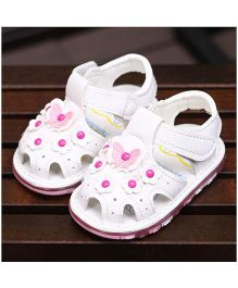 Alle Alle Cute Sandals Floral And Butterfly Motifs - White