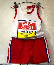 Aww Hunnie Baby Guru Print Tee & Shorts - Red