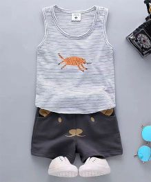 Aww Hunnie Tiger Print Striped Tee & Shorts - Grey