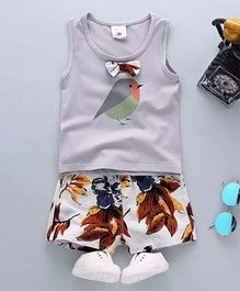 Aww Hunnie Bird Print Tee & Floral Shorts - Blue