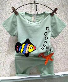Aww Hunnie Fish Print Tee & Shorts - Green