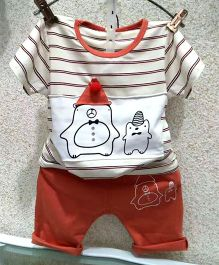 Aww Hunnie Stripe Print Tee & Shorts - Orange