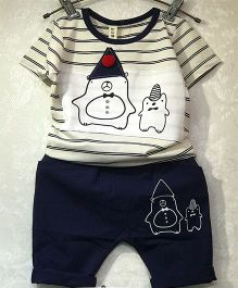 Aww Hunnie Stripe Print Tee & Shorts - Blue