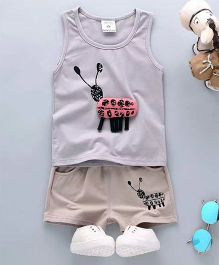 Aww Hunnie Insect Print Tee & Shorts - Blue