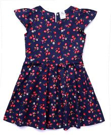 Smarty Cap Sleeves Frock Strawberry Print - Navy