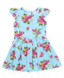 Smarty Cap Sleeves Frock Floral Print - Aqua