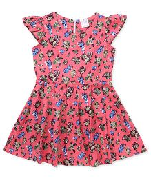 Smarty Cap Sleeves Frock Floral Print - Peach