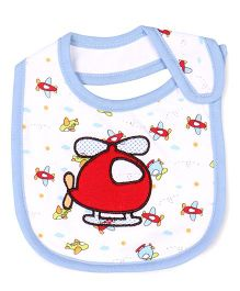 Mee Mee Absorbent Weaning Bib Helicopter Embroidery - White Blue