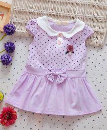 Superfie Boat Neck Printed Summer Dress - Purple