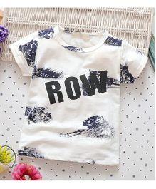 Superfie Row Print Tee - White