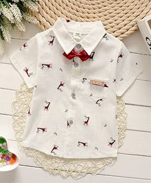 Superfie Summer Cotton Shirt With Bow For Boys - White & Red