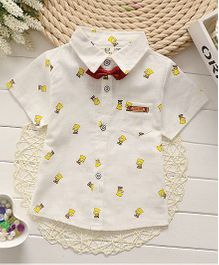 Superfie Summer Cotton Shirt With Bow - White