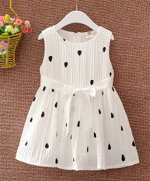 Superfie Mixprint Cotton Dress For Girls - White