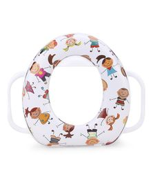 Babyhug Cushioned Potty Seat With Handle Multi Print - White