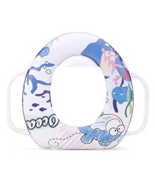 Babyhug Soft Potty Seat With Handle Ocean Print - White Blue