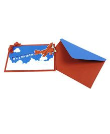 Crack of Dawn Crafts Sliding Airplane Handmade Birthday Party Invitations Pack of 6 - Red Blue