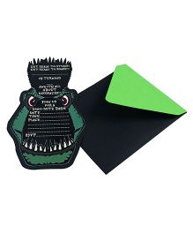 Crack of Dawn Crafts Dinosaur T-Rex Handmade Birthday Party Invitations Pack of 6 - Black Green