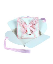 Crack of Dawn Crafts Butterfly Scroll Handmade Birthday Party Invitations Pack of 6 - Blue Pink