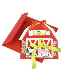 Crack of Dawn Crafts Farm Barn Handmade Birthday Party Invitations Pack of 6 - Red