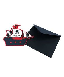 Crack of Dawn Crafts Pirate Handmade Invitations Pack of 6 - Black Red
