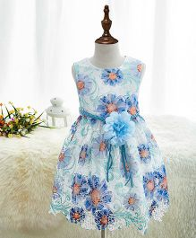 Pre Order - Mauve Collection Floral Cut Work Dress With Belt - Blue