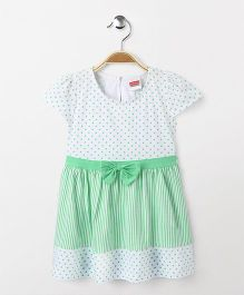 Babyhug Cap Sleeves Frock Dots And Stripes Print - White Green